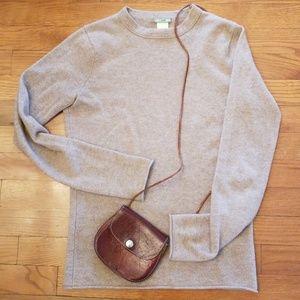 J. Crew Roll Hem Cashmere Khaki Sweater